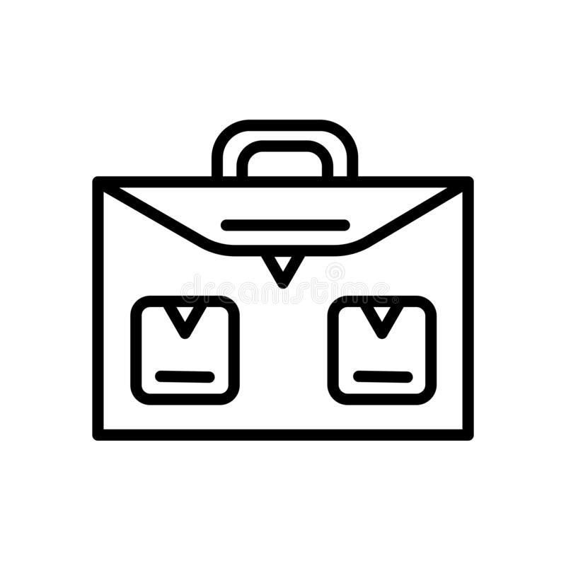 Vector del icono de la cartera de la escuela aislado en el fondo blanco, la muestra de la cartera de la escuela, el símbolo linea stock de ilustración