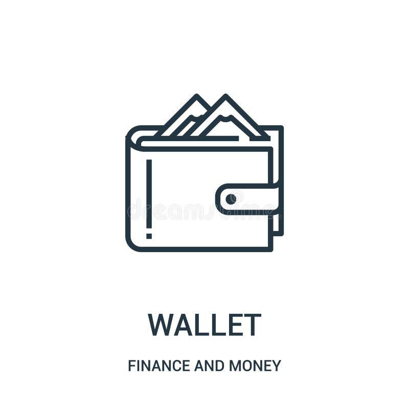 vector del icono de la cartera de finanzas y de la colección del dinero L?nea fina ejemplo del vector del icono del esquema de la libre illustration