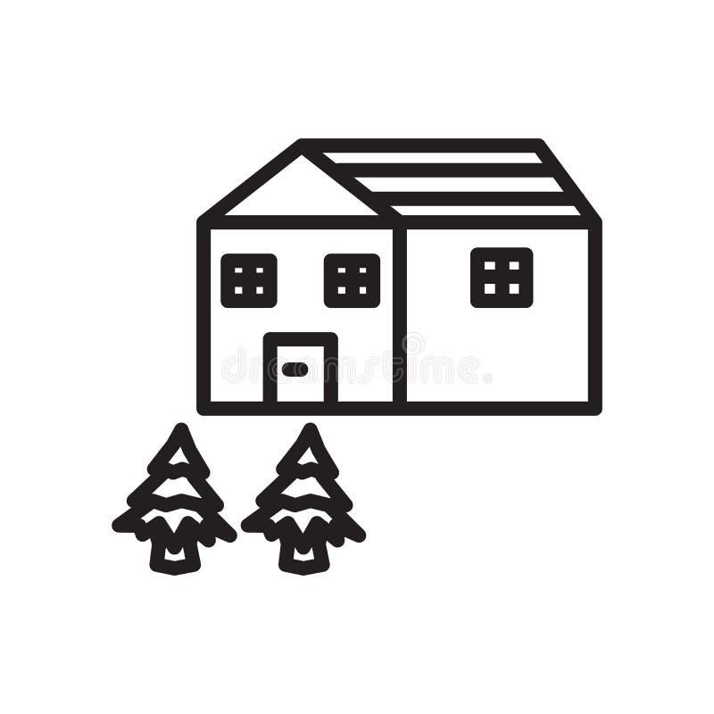 Vector del icono de la casa aislado en el fondo blanco, la muestra de la casa, el símbolo linear y elementos del diseño del movim stock de ilustración