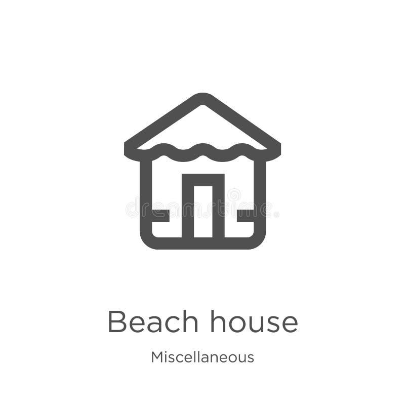 vector del icono de la casa de playa de la colección diversa Línea fina ejemplo del vector del icono del esquema de la casa de pl libre illustration