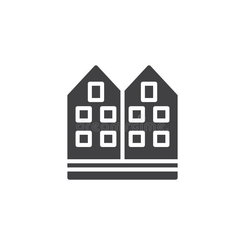 Vector del icono de la casa de la vecindad ilustración del vector