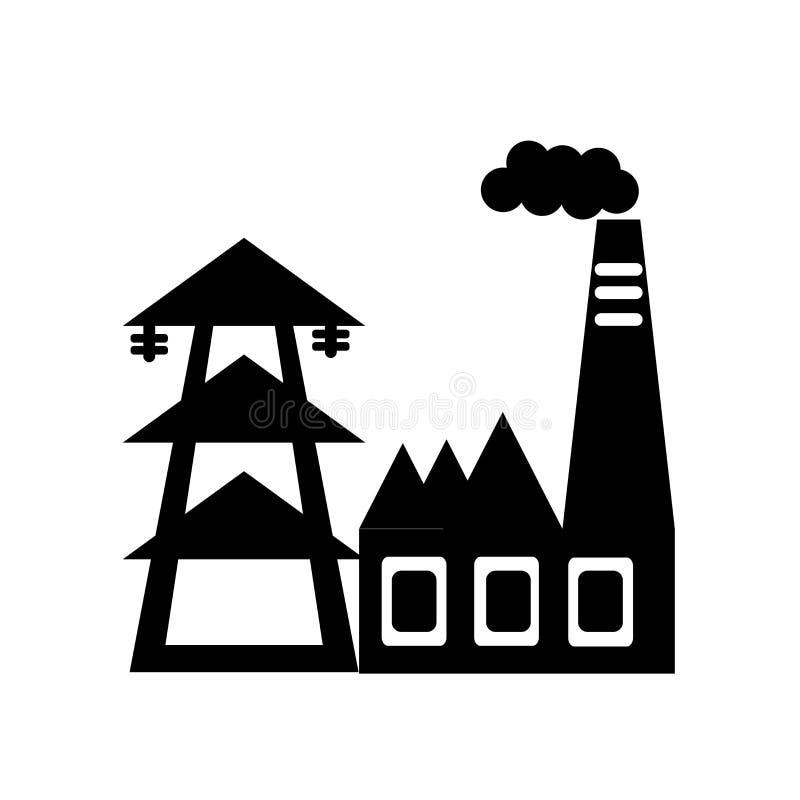 Vector del icono de la central eléctrica aislado en el fondo blanco, muestra de la central eléctrica, símbolos negros libre illustration