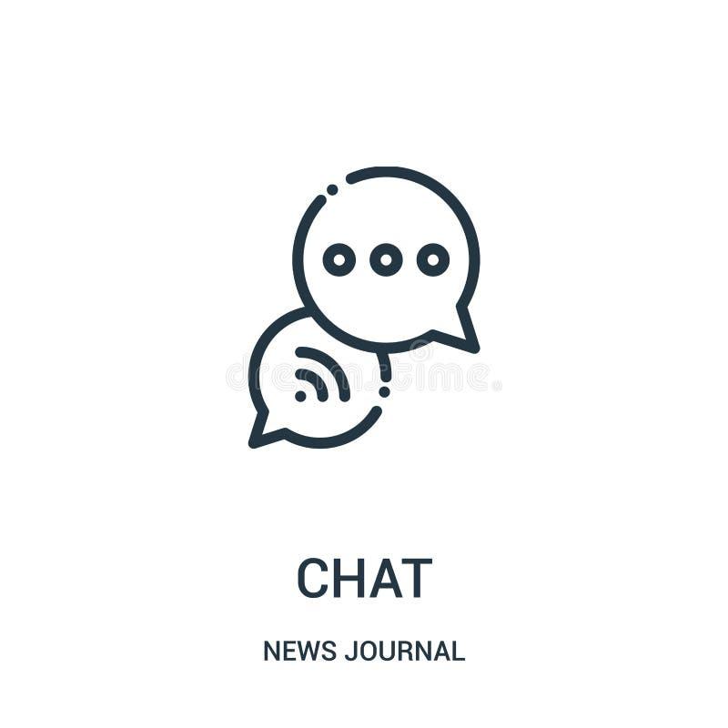 vector del icono de la charla de la colección del diario de las noticias Línea fina ejemplo del vector del icono del esquema de l ilustración del vector