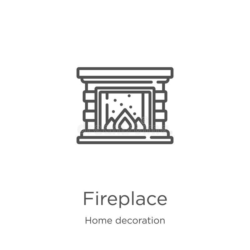 vector del icono de la chimenea de la colección casera de la decoración Línea fina ejemplo del vector del icono del esquema de la ilustración del vector