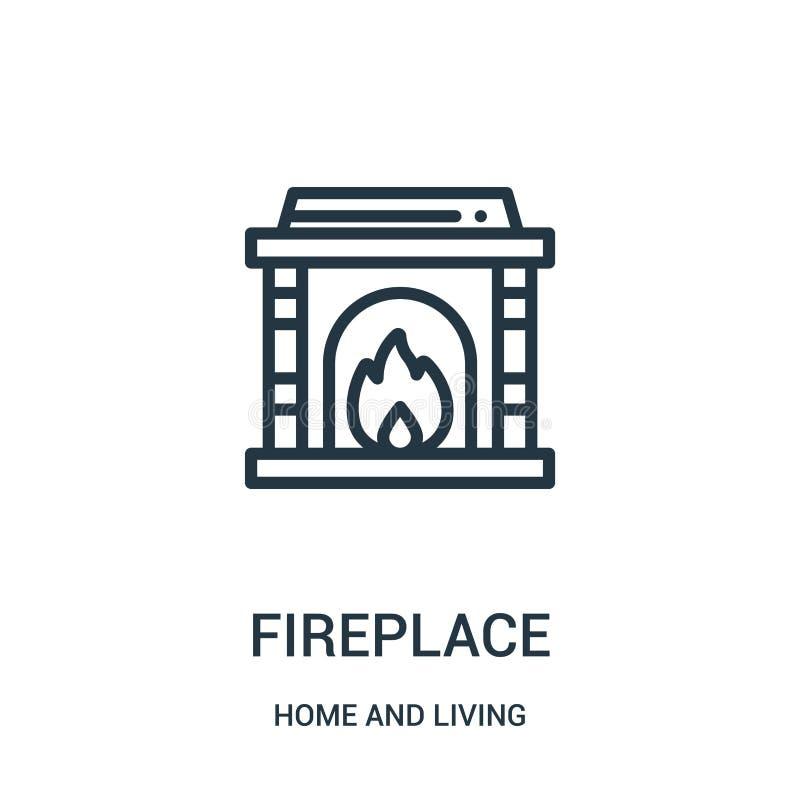 vector del icono de la chimenea del hogar y de la colección viva Línea fina ejemplo del vector del icono del esquema de la chimen libre illustration