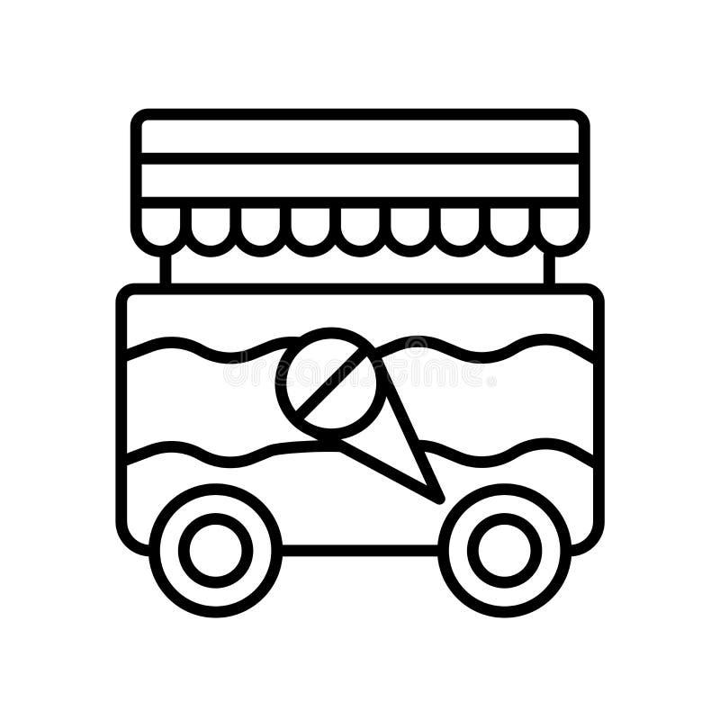 Vector del icono de la comida de la calle aislado en el fondo blanco, muestra de la comida de la calle, línea fina elementos del  stock de ilustración