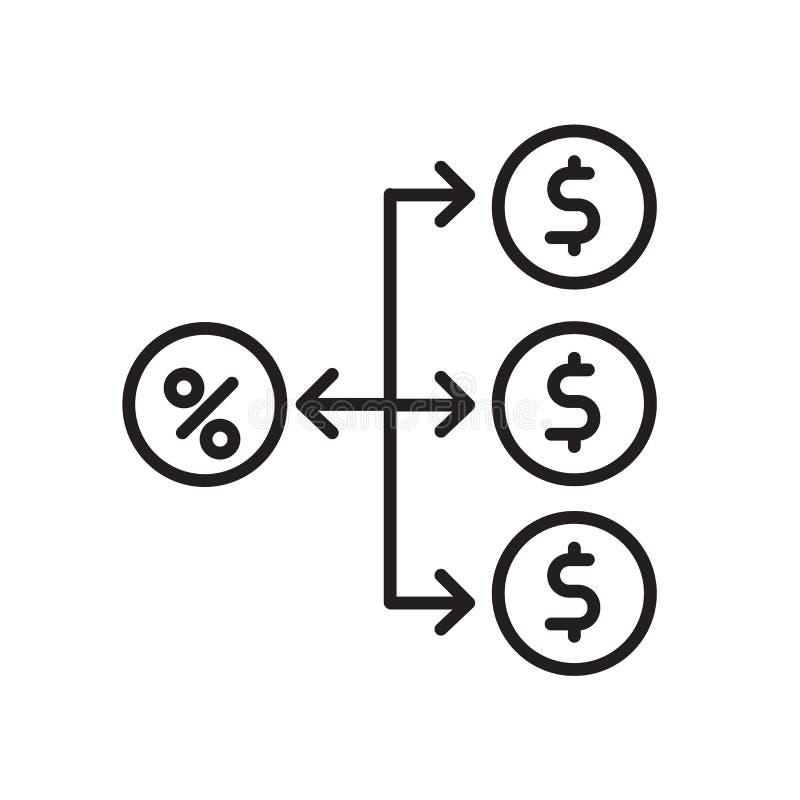 Vector del icono de la Comisión aislado en el fondo, la muestra de la Comisión, la muestra y los símbolos blancos en estilo linea stock de ilustración