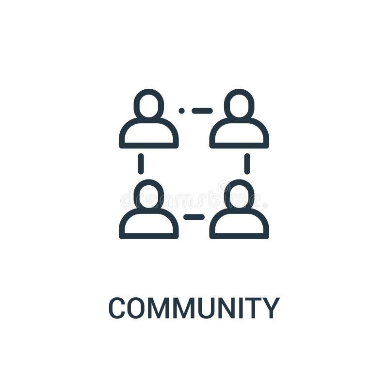 vector del icono de la comunidad de la colección de la amistad Línea fina ejemplo del vector del icono del esquema de la comunida libre illustration