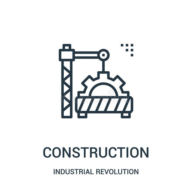 vector del icono de la construcción de la colección de la Revolución industrial Línea fina ejemplo del vector del icono del esque ilustración del vector