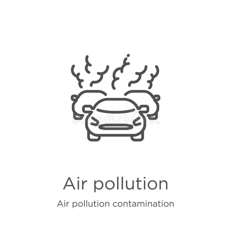 vector del icono de la contaminación atmosférica de la colección de la contaminación de la contaminación atmosférica Línea fina e libre illustration