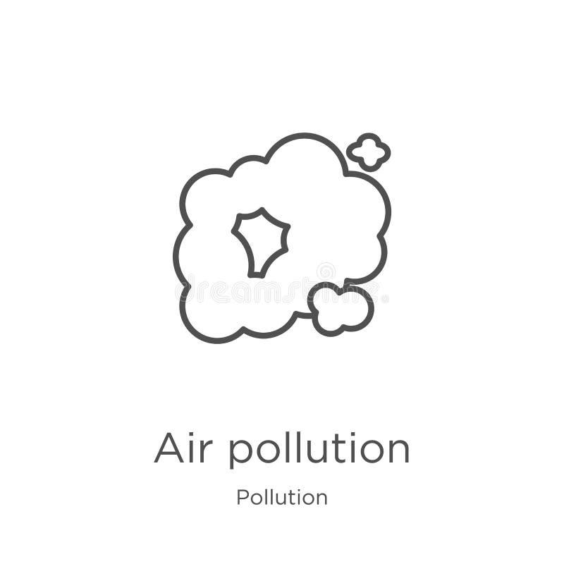 vector del icono de la contaminación atmosférica de la colección de la contaminación L?nea fina ejemplo del vector del icono del  stock de ilustración