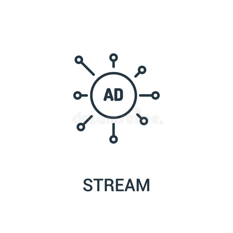 vector del icono de la corriente de la colección de los anuncios Línea fina ejemplo del vector del icono del esquema de la corrie stock de ilustración