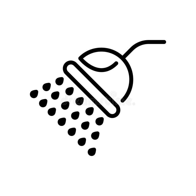 Vector del icono de la ducha aislado en el fondo, la muestra de la ducha, la línea y los elementos blancos del esquema en estilo  ilustración del vector