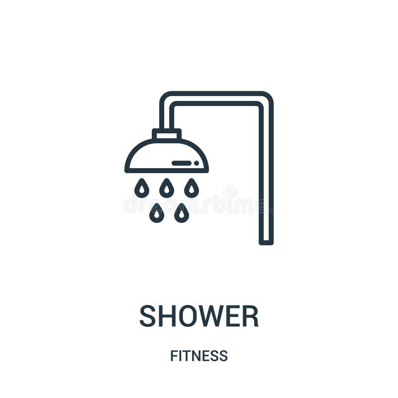 vector del icono de la ducha de la colección de la aptitud Línea fina ejemplo del vector del icono del esquema de la ducha Símbol stock de ilustración