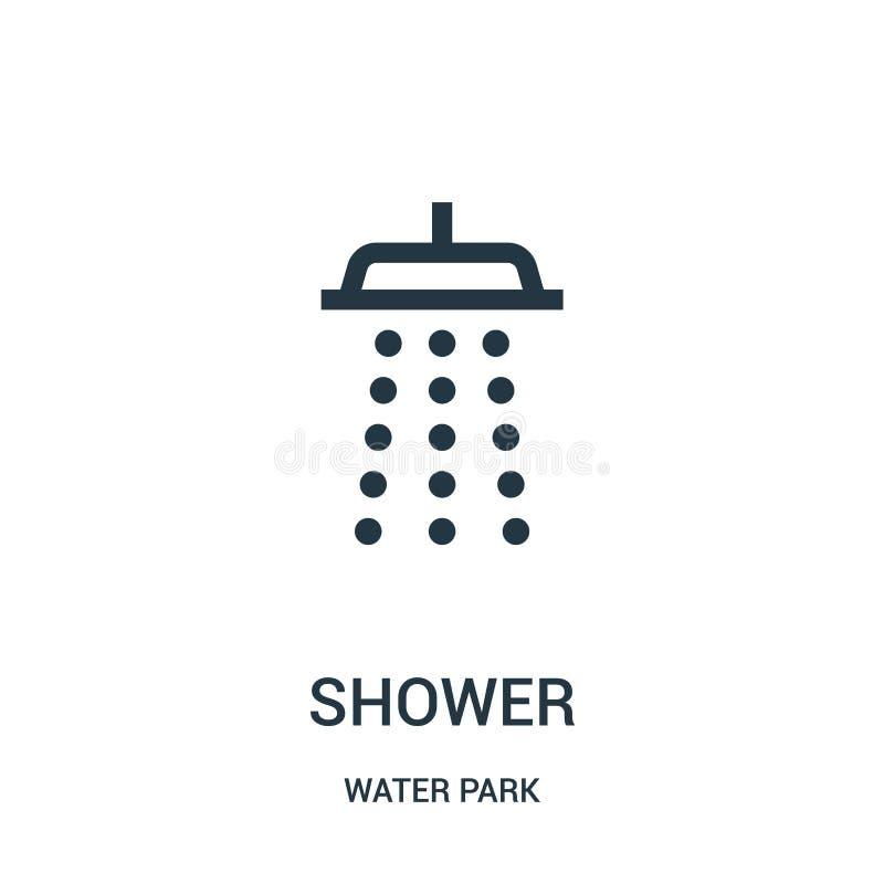 vector del icono de la ducha de la colección del parque del agua Línea fina ejemplo del vector del icono del esquema de la ducha  libre illustration