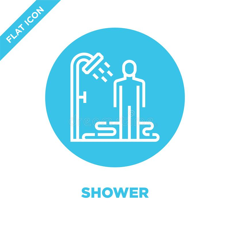 vector del icono de la ducha de la colección sana de la vida Línea fina ejemplo del vector del icono del esquema de la ducha Símb libre illustration