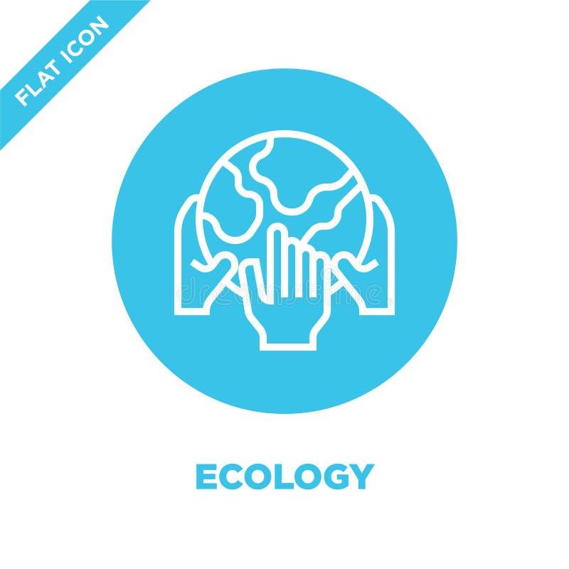 vector del icono de la ecología de la colección del calentamiento del planeta Línea fina ejemplo del vector del icono del esquema stock de ilustración