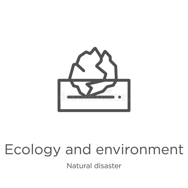 vector del icono de la ecolog?a y del ambiente de la colecci?n del desastre natural L?nea fina ecolog?a y vector del icono del es stock de ilustración