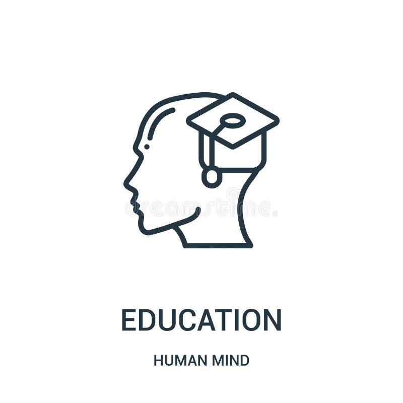vector del icono de la educación de la colección de la mente humana Línea fina ejemplo del vector del icono del esquema de la edu stock de ilustración