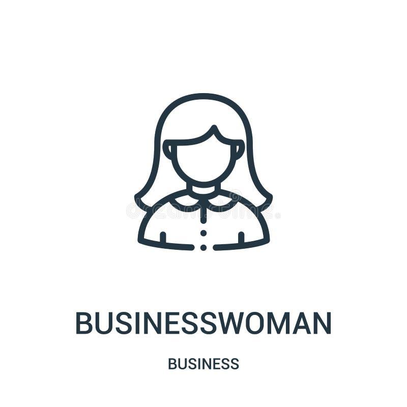 vector del icono de la empresaria de la colección del negocio L?nea fina ejemplo del vector del icono del esquema de la empresari stock de ilustración