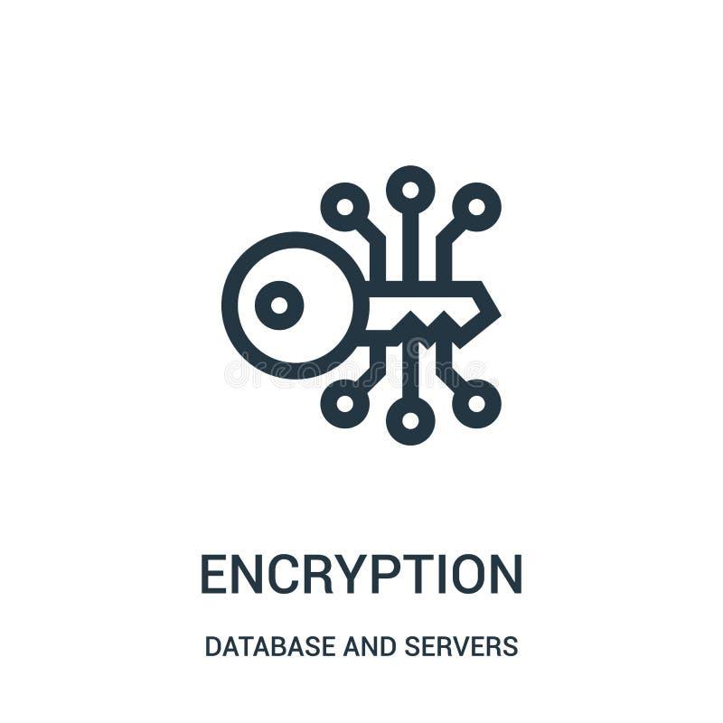 vector del icono de la encripción de la base de datos y de la colección de los servidores L?nea fina ejemplo del vector del icono ilustración del vector