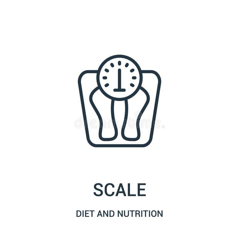 vector del icono de la escala de la colecci?n de la dieta y de la nutrici?n L?nea fina ejemplo del vector del icono del esquema d ilustración del vector