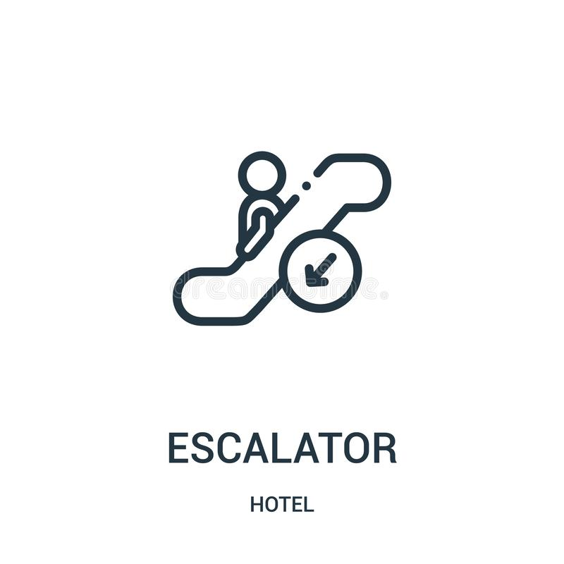 vector del icono de la escalera m?vil de la colecci?n del hotel L?nea fina ejemplo del vector del icono del esquema de la escaler stock de ilustración