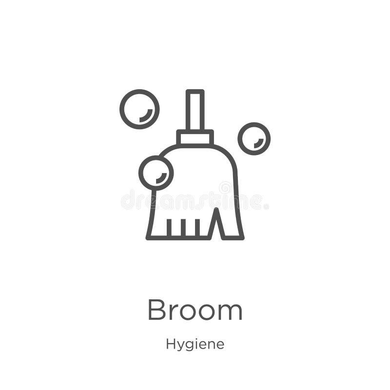 vector del icono de la escoba de la colección de la higiene Línea fina ejemplo del vector del icono del esquema de la escoba Esqu ilustración del vector