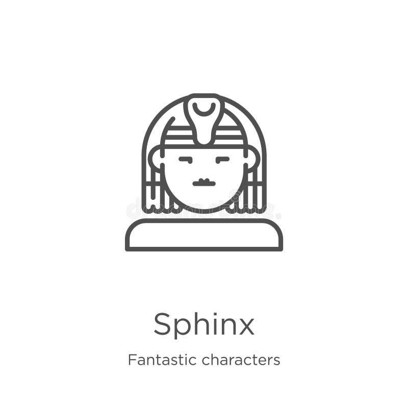 vector del icono de la esfinge de la colección fantástica de los caracteres Línea fina ejemplo del vector del icono del esquema d ilustración del vector