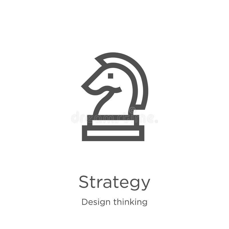 vector del icono de la estrategia de la colección de pensamiento del diseño L?nea fina ejemplo del vector del icono del esquema d ilustración del vector