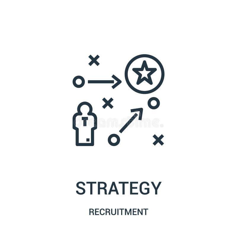 vector del icono de la estrategia de la colección del reclutamiento L?nea fina ejemplo del vector del icono del esquema de la est stock de ilustración