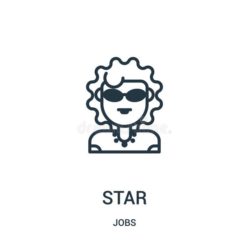 vector del icono de la estrella de la colección de los trabajos L?nea fina ejemplo del vector del icono del esquema de la estrell stock de ilustración