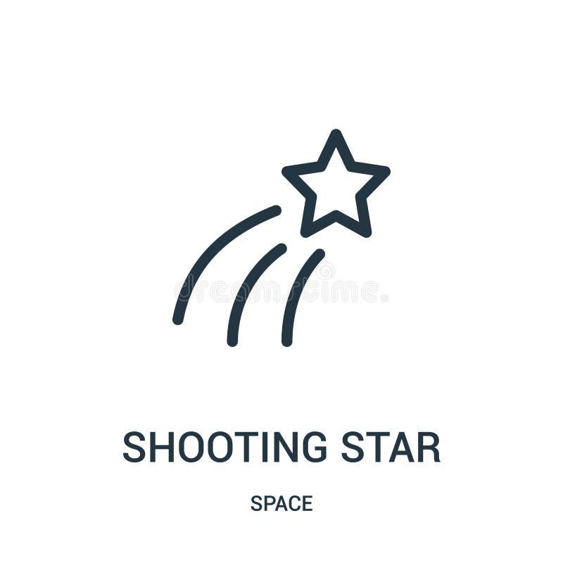 vector del icono de la estrella fugaz de la colección del espacio Línea fina ejemplo del vector del icono del esquema de la estre ilustración del vector