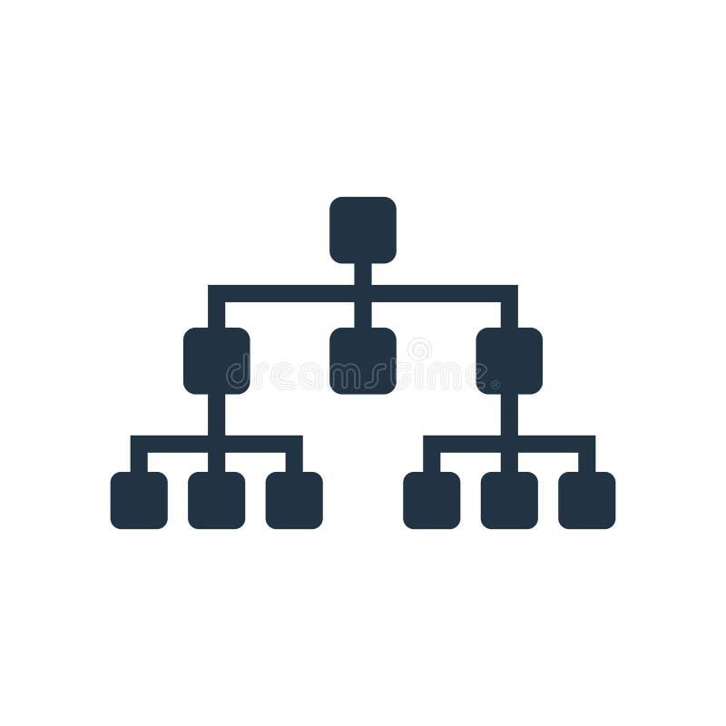 Vector del icono de la estructura jerárquica aislado en el fondo blanco libre illustration