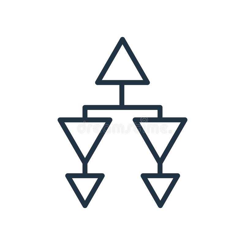 Vector del icono de la estructura jerárquica aislado en el fondo blanco stock de ilustración