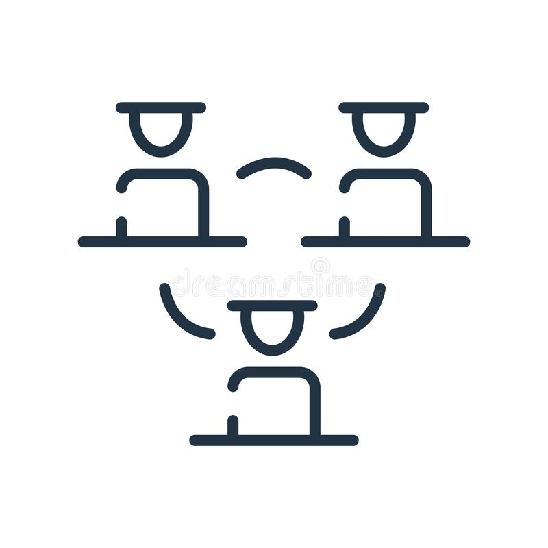 Vector del icono de la estructura jerárquica aislado en el fondo blanco, la muestra de la estructura jerárquica, la línea símbolo stock de ilustración