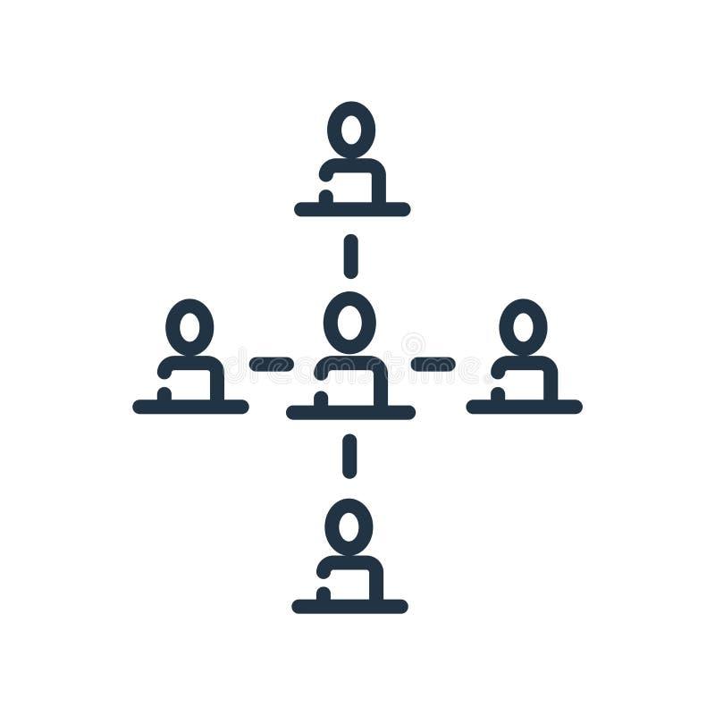 Vector del icono de la estructura jerárquica aislado en el fondo blanco, la muestra de la estructura jerárquica, la línea símbolo ilustración del vector