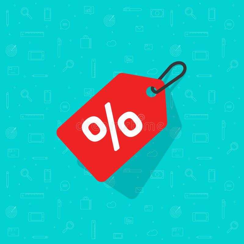 Vector del icono de la etiqueta de la venta, rojo plano de la etiqueta del descuento de la historieta coloreado en la cuerda con  libre illustration