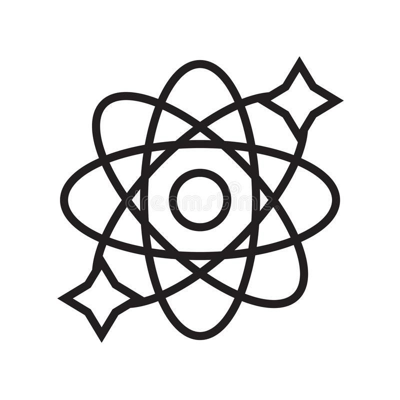 Vector del icono de la física aislado en el fondo blanco, muestra de la física ilustración del vector