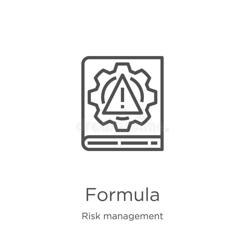 vector del icono de la fórmula de la colección de la gestión de riesgos L?nea fina ejemplo del vector del icono del esquema de la libre illustration