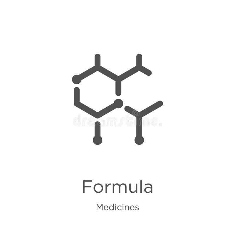vector del icono de la fórmula de la colección de las medicinas L?nea fina ejemplo del vector del icono del esquema de la f?rmula stock de ilustración