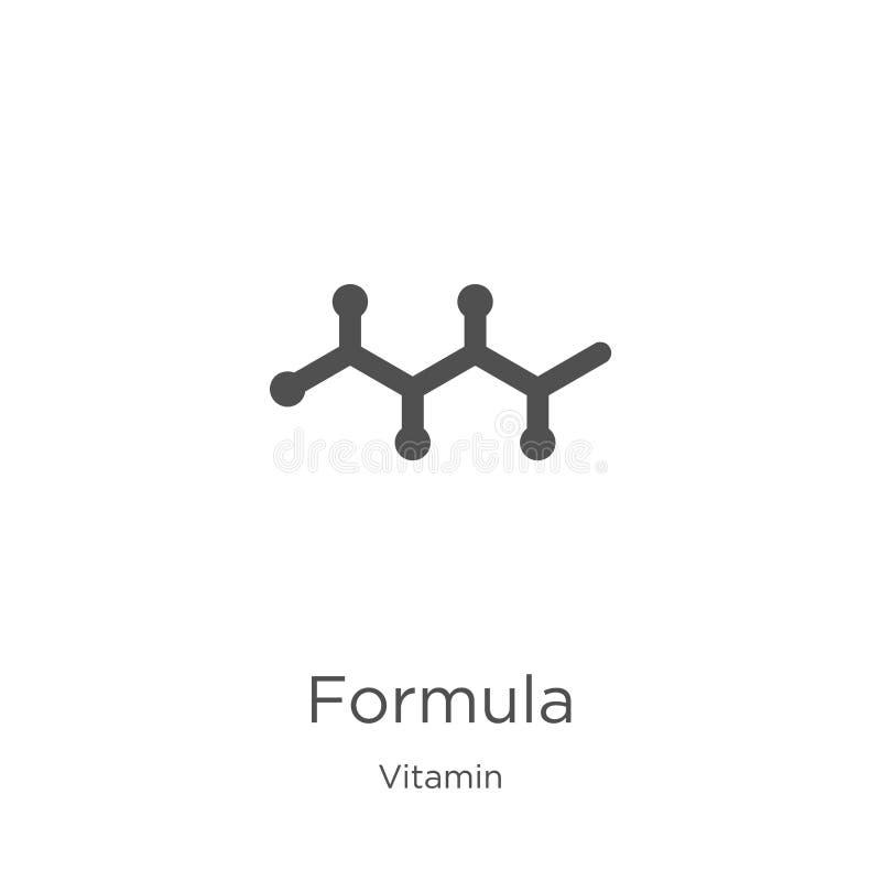 vector del icono de la fórmula de la colección de la vitamina L?nea fina ejemplo del vector del icono del esquema de la f?rmula E stock de ilustración