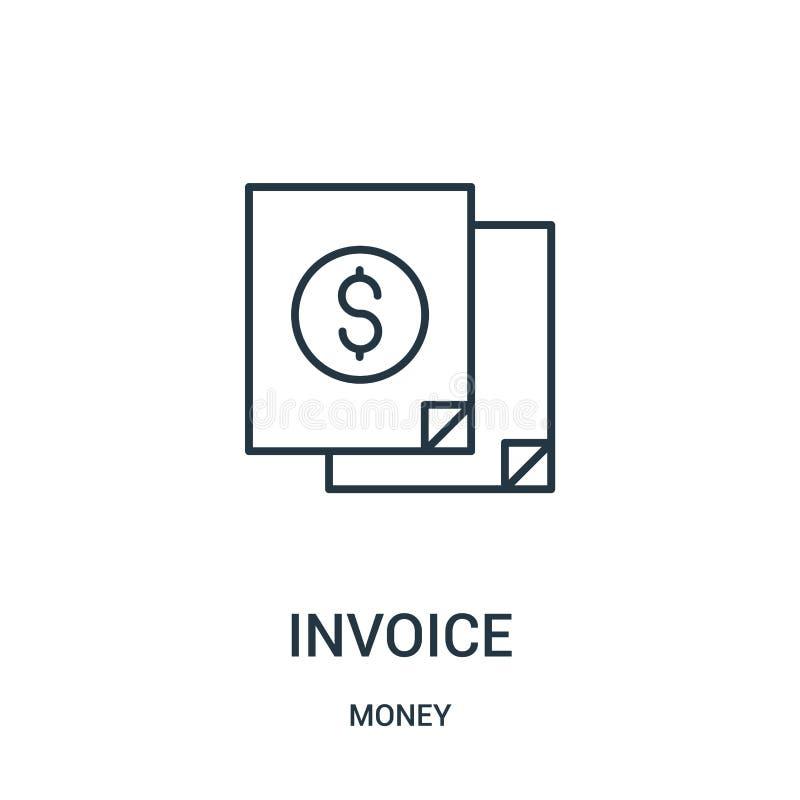 vector del icono de la factura de la colección del dinero Línea fina ejemplo del vector del icono del esquema de la factura stock de ilustración