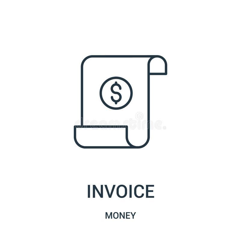 vector del icono de la factura de la colección del dinero Línea fina ejemplo del vector del icono del esquema de la factura libre illustration