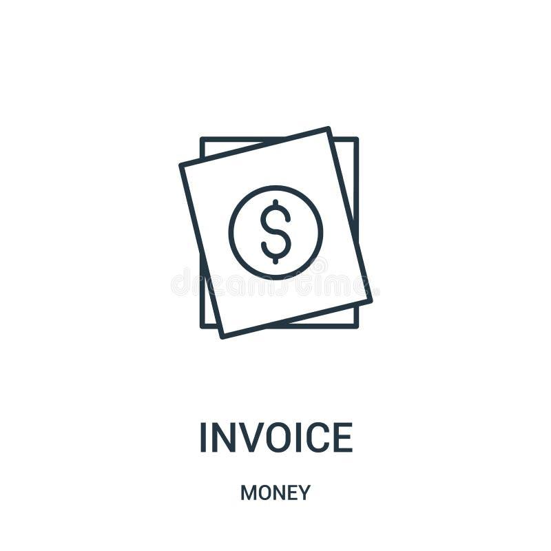 vector del icono de la factura de la colección del dinero Línea fina ejemplo del vector del icono del esquema de la factura ilustración del vector