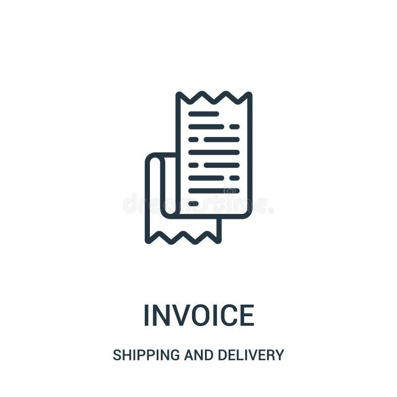 vector del icono de la factura de la colección del envío y de la entrega Línea fina ejemplo del vector del icono del esquema de l stock de ilustración
