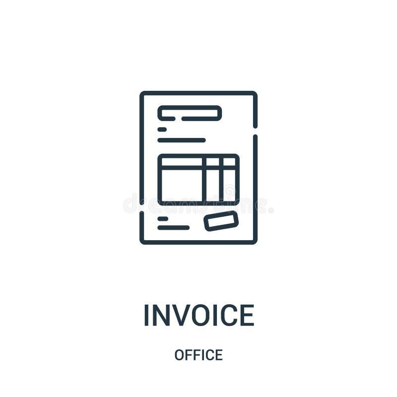 vector del icono de la factura de la colección de la oficina L?nea fina ejemplo del vector del icono del esquema de la factura stock de ilustración