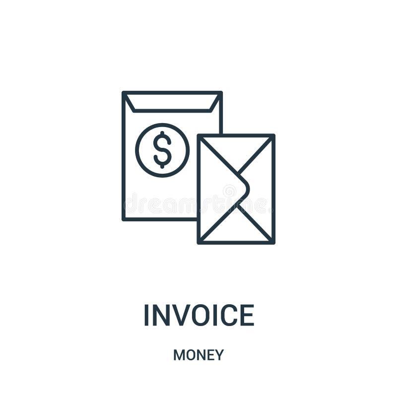 vector del icono de la factura de la colecci?n del dinero L?nea fina ejemplo del vector del icono del esquema de la factura ilustración del vector