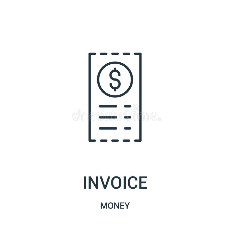 vector del icono de la factura de la colecci?n del dinero L?nea fina ejemplo del vector del icono del esquema de la factura libre illustration