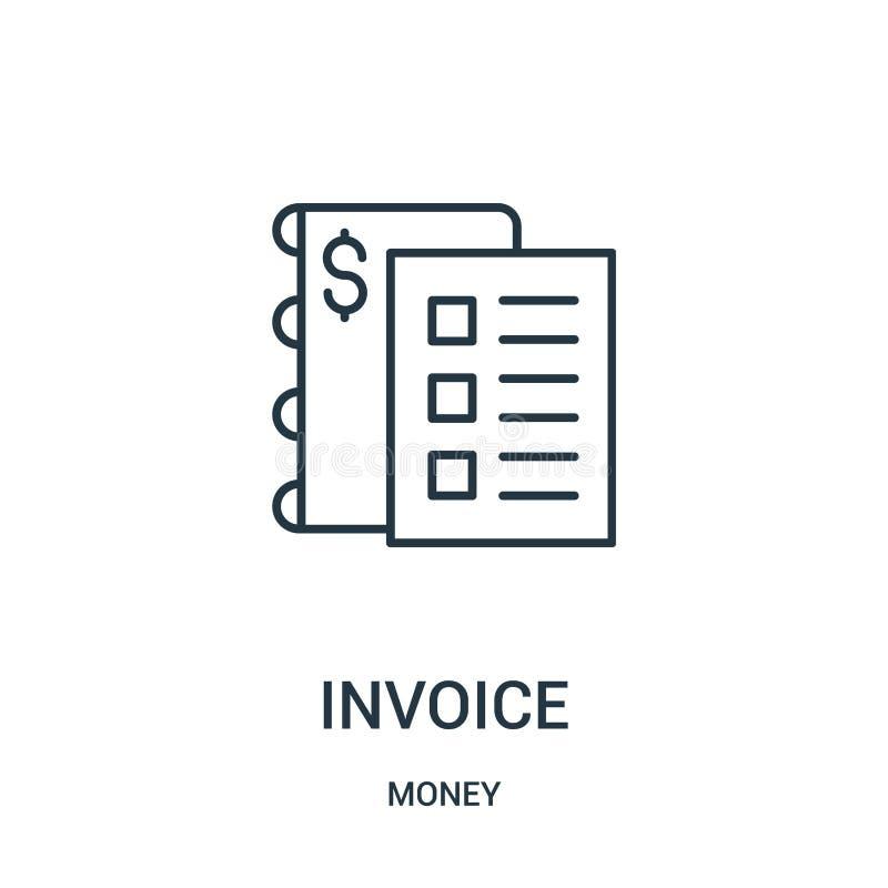 vector del icono de la factura de la colecci?n del dinero L?nea fina ejemplo del vector del icono del esquema de la factura stock de ilustración